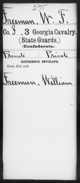 Freeman, W F - 3d Cavalry (State Guards)