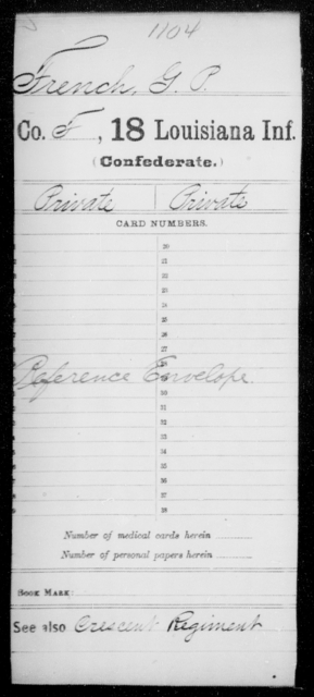 French, G P - Age [Blank], Year: [Blank] - Eighteenth Infantry, D - F - Louisiana