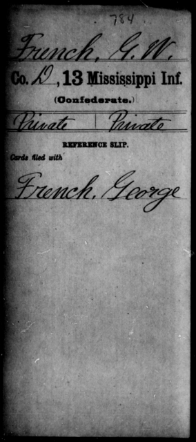 French, G W - Age: [Blank], Year: [BLANK] - Mississippi C, D-F
