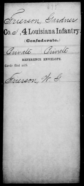 Frierson, Gardner - Age [Blank], Year: [Blank] - Third Regiment, First Brigade, First Division, Militia,, L - Z - Louisiana