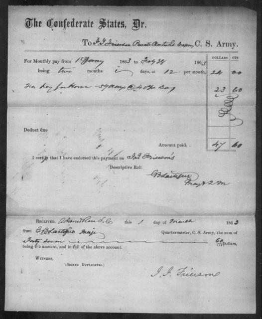 Frierson, James J - Age: 43, Year: 1862 - South Carolina Fourth Cavalry E-G