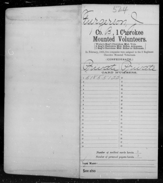 Furgerson, J - Age [Blank], Year: 1861 - First Cherokee Mounted Volunteers, A-K - Raised Directly by the Confederate Government