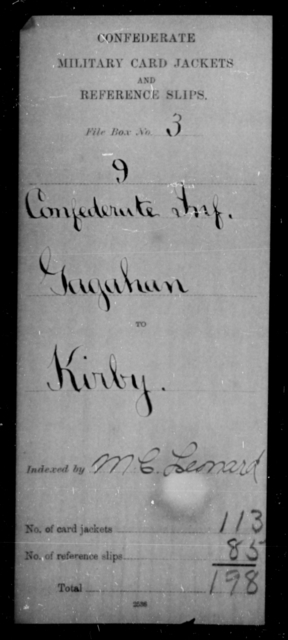 Gagahan, Kirby - Age [Blank], Year: [Blank] - Ninth Confederate Infantry, G-Mi - Raised Directly by the Confederate Government