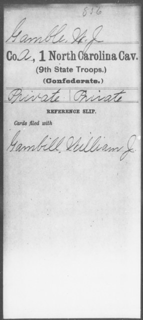 Gamble, W J - First Cavalry (Ninth State Troops)