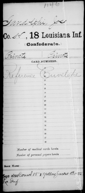 Gandolphi, Jos - Age [Blank], Year: [Blank] - Eighteenth Infantry, G - I - Louisiana