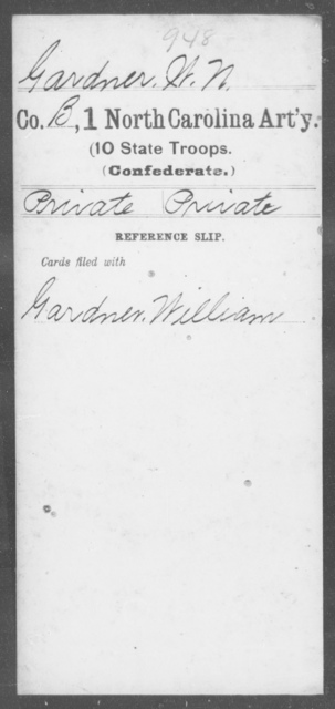 Gardner, W N - First Artillery (10th State Troops)