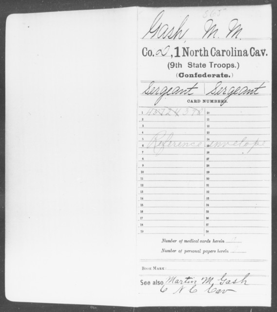 Gash, M M - First Cavalry (Ninth State Troops)