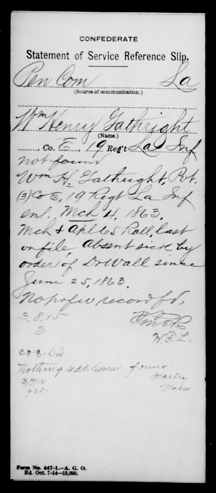 Gathright, Wm Henry - Age [Blank], Year: [Blank] - Nineteenth Infantry, Fe - Ho - Louisiana