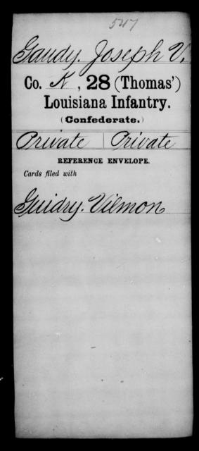 Gaudy, Joseph V - Age [Blank], Year: [Blank] - Twenty-eighth (Thomas') Infantry, C - G - Louisiana