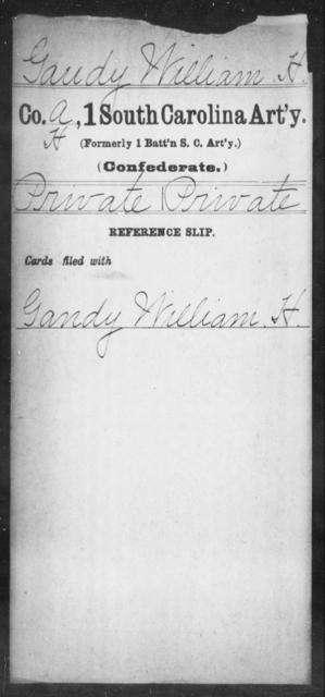 Gaudy, William H - Age: [Blank], Year: [BLANK] - South Carolina First Artillery De-Ga