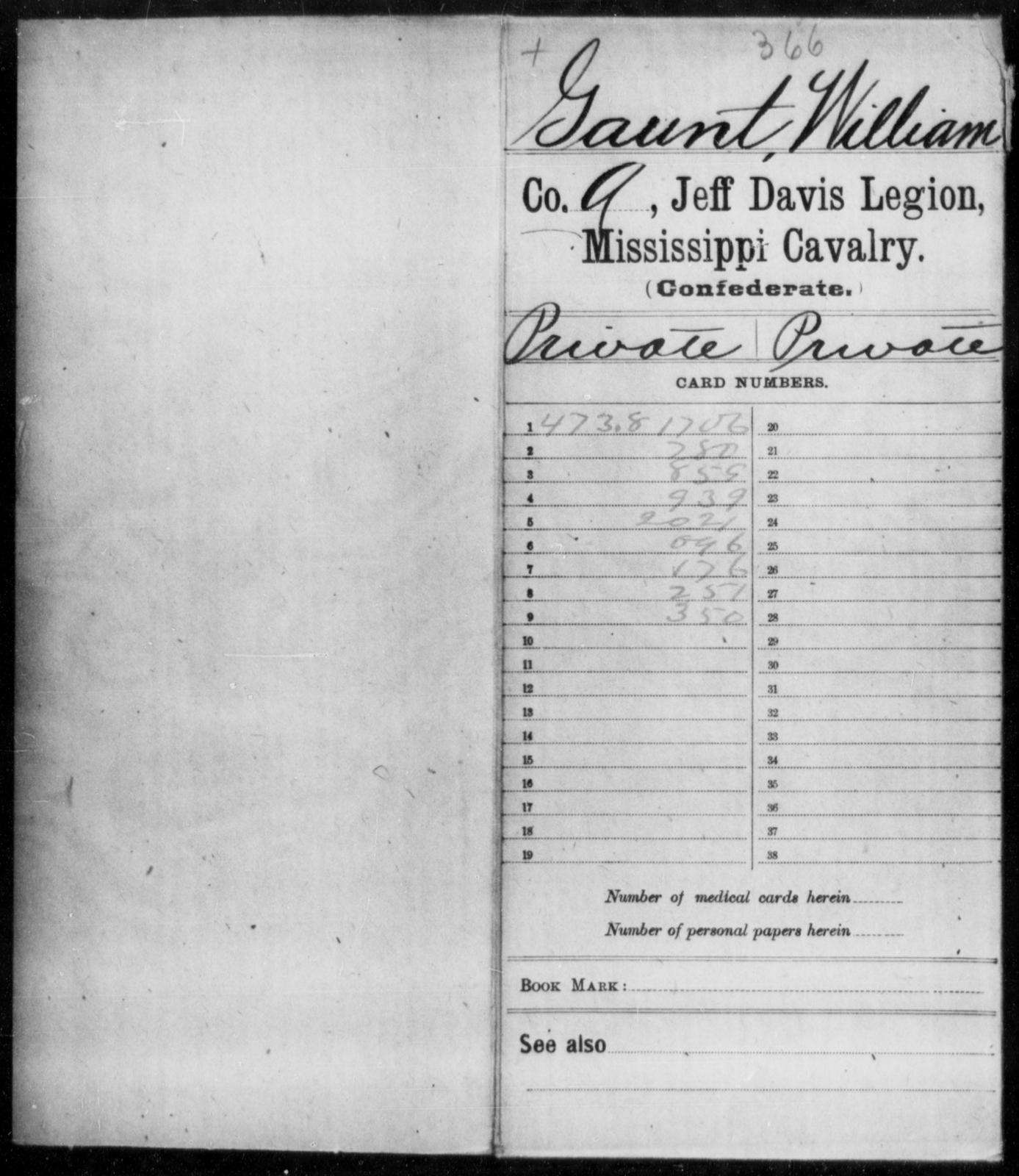 Gaunt, William - Age: 41, Year: 1861 - Mississippi Jeff Davis Legion, Cavalry, G-K