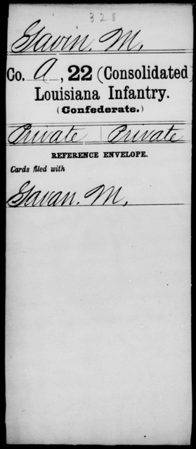 Gavin, M - Age [Blank], Year: [Blank] - Twenty-second (Consolidated) Infantry, C - J - Louisiana
