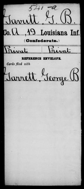 Gavutt, G B - Age [Blank], Year: [Blank] - Nineteenth Infantry, Fe - Ho - Louisiana