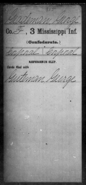 Geademan, George - Age: [Blank], Year: [BLANK] - Mississippi Third Infantry, G-K
