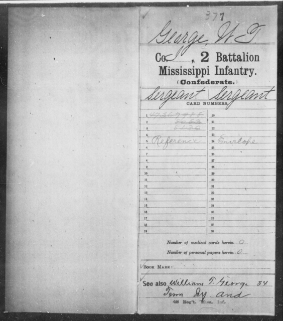George, W T - Age: [Blank], Year: [BLANK] - Mississippi Second Battalion, Infantry, A-P