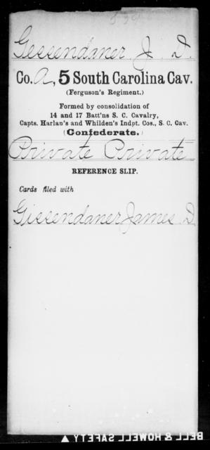 Gessendaner, J D - Age: [Blank], Year: [BLANK] - South Carolina Fifth Cavalry F-He