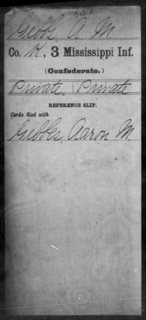 Gibbs, A M - Age: [Blank], Year: [BLANK] - Mississippi Third Infantry, G-K