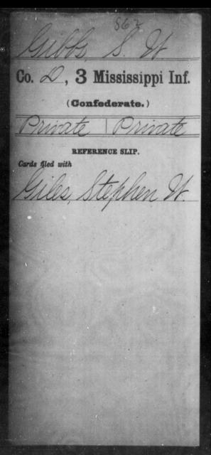 Gibbs, S W - Age: [Blank], Year: [BLANK] - Mississippi Third Infantry, G-K