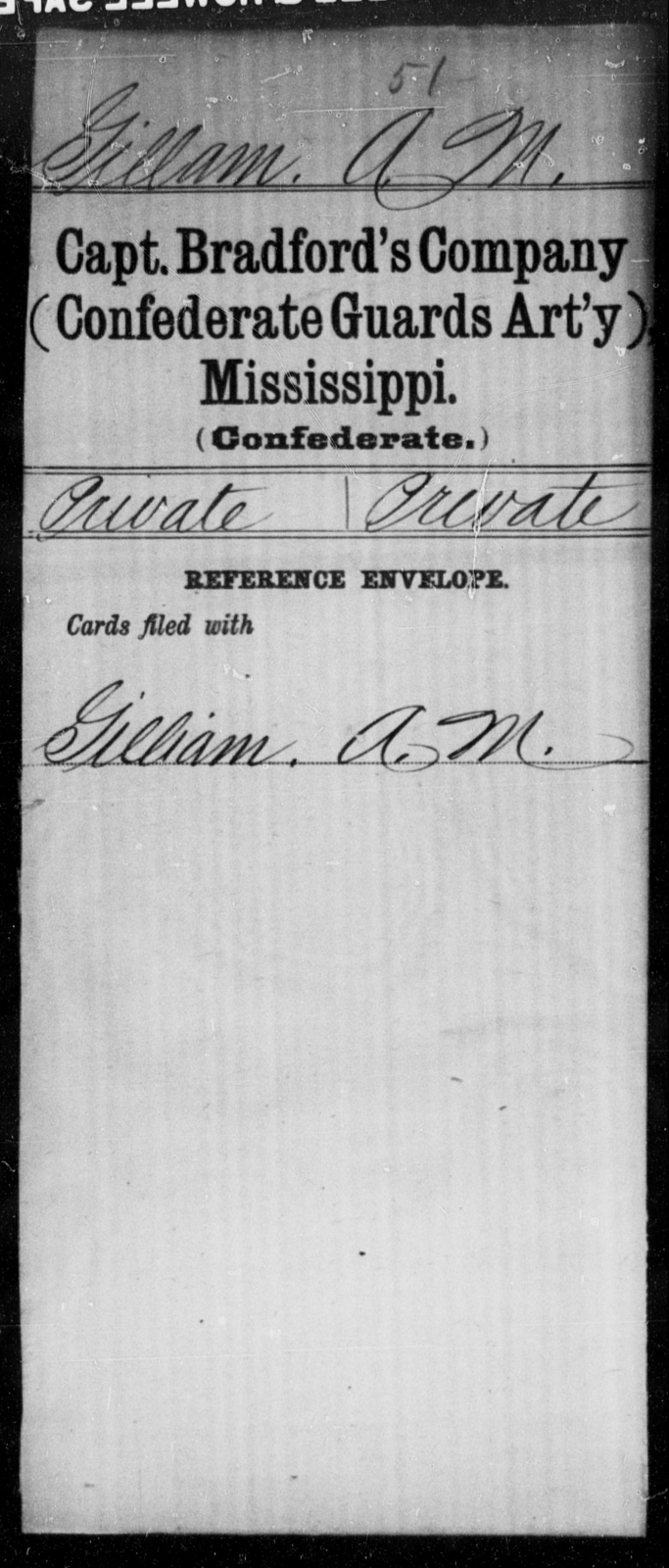 Gillam, A M - Age: [Blank], Year: [BLANK] - Mississippi Fourteenth Battalion, Light Artillery, R-Y AND Capt. Bradford's Co. (Confederate Guards Artillery), A-K