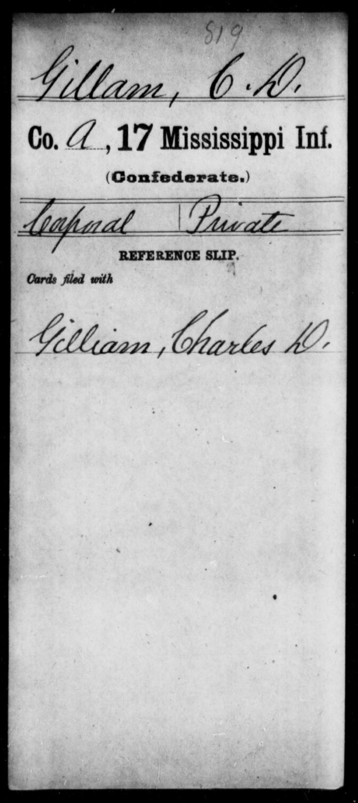 Gillam, C D - Age: [Blank], Year: [BLANK] - Mississippi Seventeenth Infantry, G-Ha
