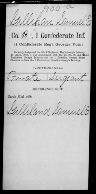 Gillihan, Samuel E - Age [Blank], Year: [Blank] - First Confederate Infantry, F-Ha - Raised Directly by the Confederate Government