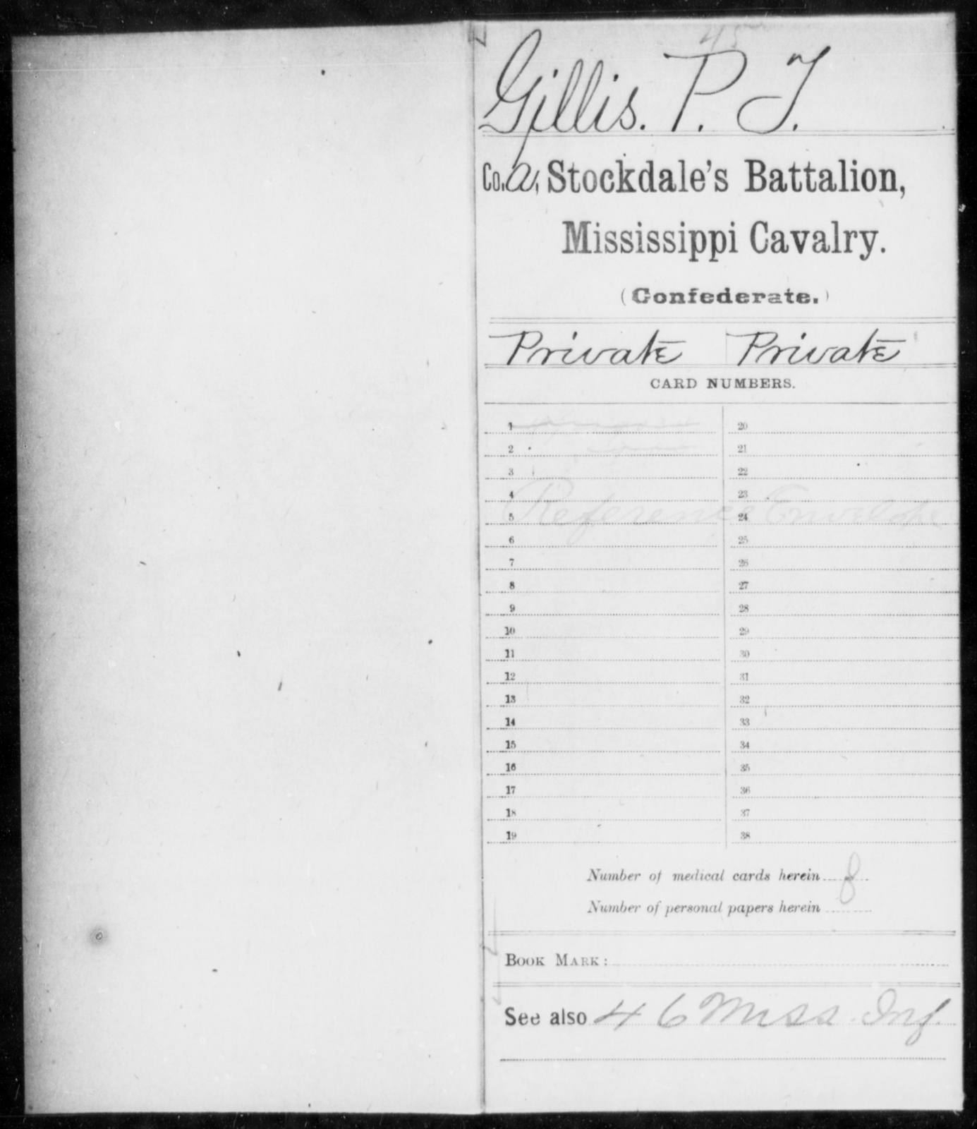 Gillis, P T - Age: [Blank], Year: [BLANK] - Mississippi Capt. Rhodes' Co., Partisan Rangers, Cavalry AND Capt. Russell's Co., Cavalry AND Capt. Semple's Co., Cavalry AND Capt. Shelby's Co., (Bolivar Greys), Cavalry AND Capt. Smyth's Co., Partisan Rangers AND Capt. Stewart's Co. (Yalobusha Rangers) AND Stockdale's Battalion Cavalry