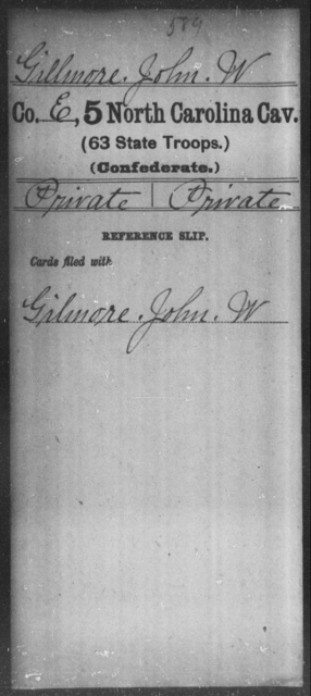 Gillmore, John W - Fifth Cavalry (63d State Troops)