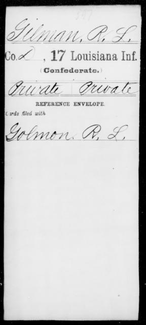 Gilman, R L - Age [Blank], Year: [Blank] - Seventeenth Infantry, G - Je - Louisiana