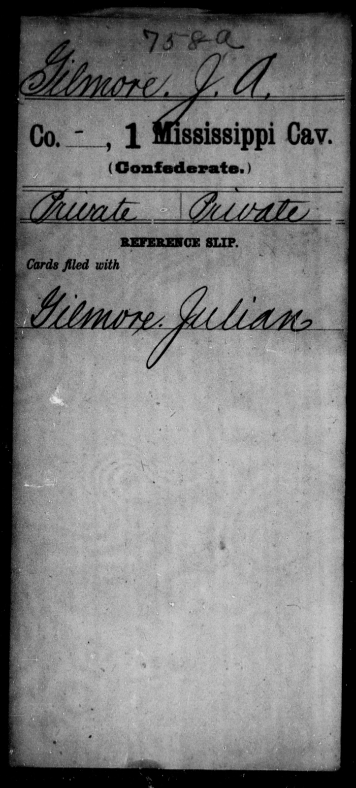 Gilmore, J A - Age: [Blank], Year: [BLANK] - Mississippi First Cavalry, E-J