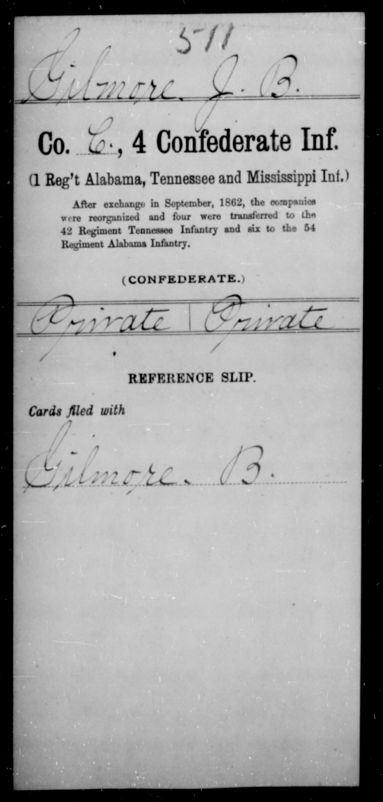 Gilmore, J B - Age [Blank], Year: [Blank] - Fourth Confederate Infantry, G-N - Raised Directly by the Confederate Government