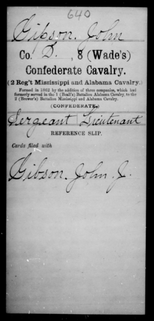 Gipson, John - Age [Blank], Year: 1862 - Eighth Confederate Cavalry, E-K - Raised Directly by the Confederate Government