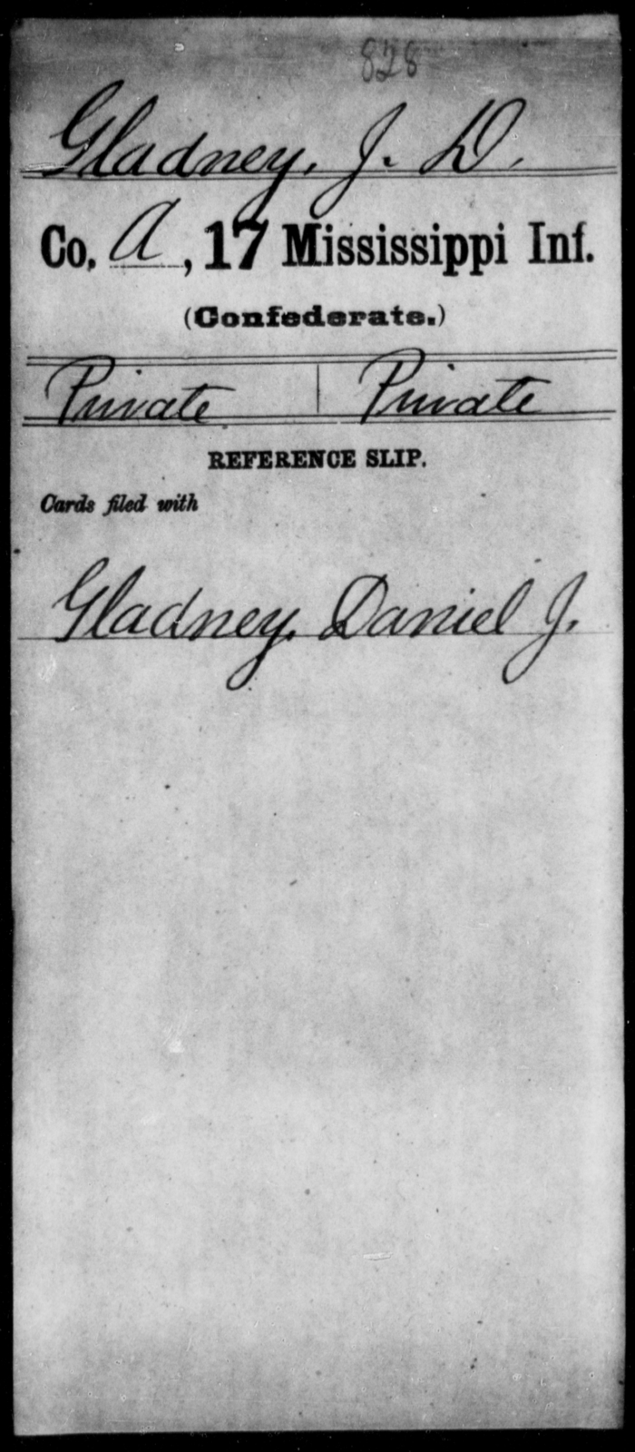 Gladney, J D - Age: [Blank], Year: [BLANK] - Mississippi Seventeenth Infantry, G-Ha