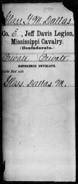 Glass, G M Dallas - Age: [Blank], Year: [BLANK] - Mississippi Jeff Davis Legion, Cavalry, G-K