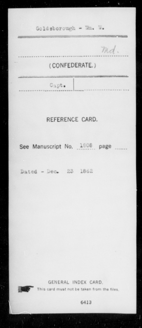 Goldsborough, Wm W - Age [Blank], Year: [Blank] - First Infantry, E-L - Maryland