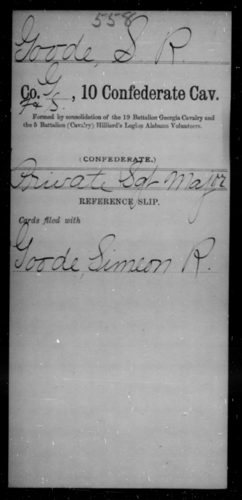 Goode, S R - Age [Blank], Year: [Blank] - Tenth Confederate Cavalry, F-K - Raised Directly by the Confederate Government