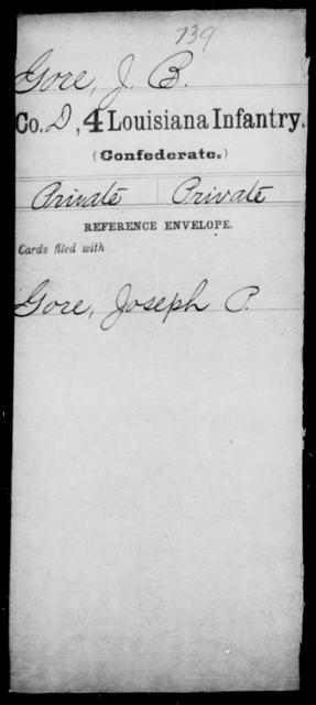 Gore, J B - Age [Blank], Year: [Blank] - Third Regiment, First Brigade, First Division, Militia,, L - Z - Louisiana