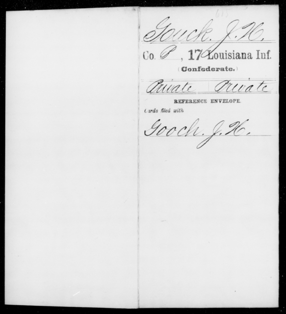 Gouck, J H - Age [Blank], Year: [Blank] - Seventeenth Infantry, G - Je - Louisiana