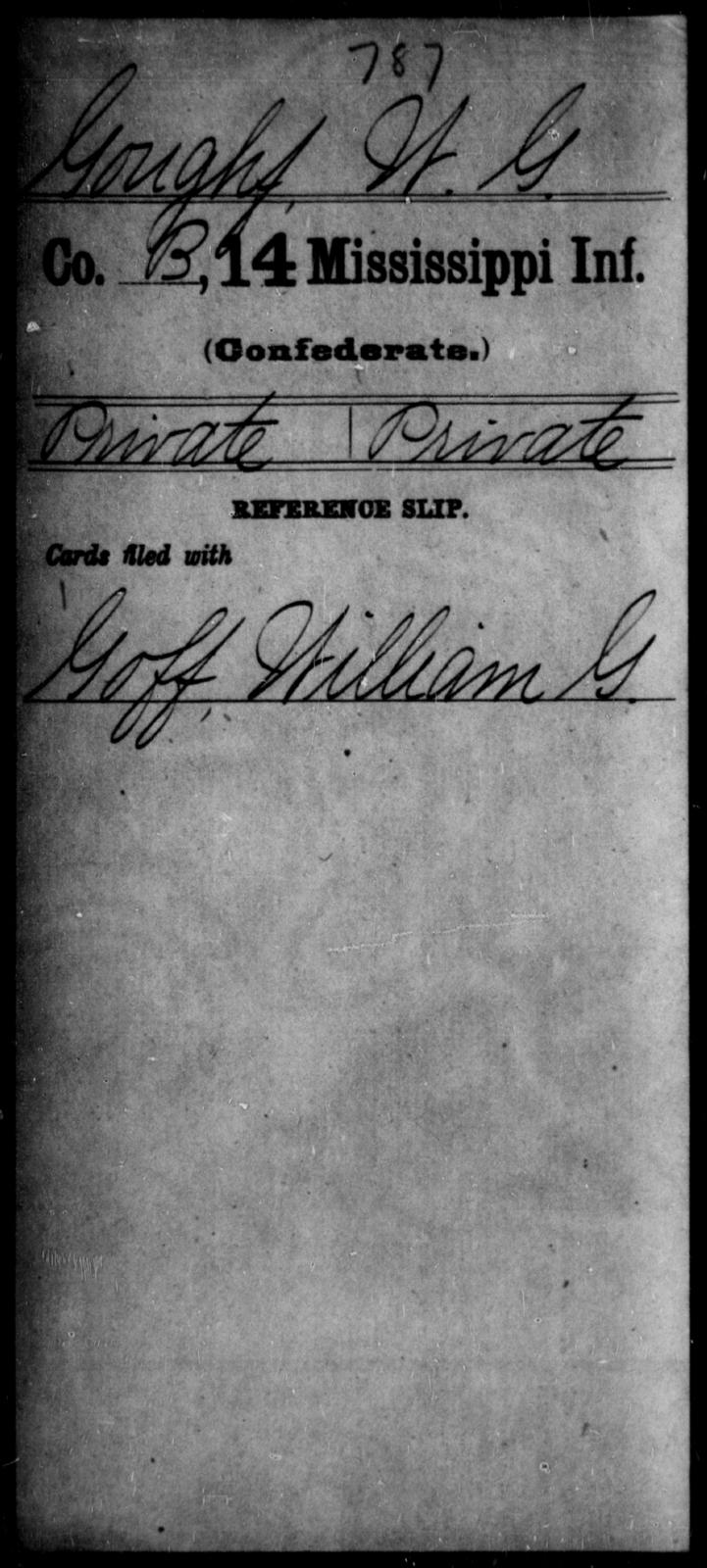 Goughf, W G - Age: [Blank], Year: [BLANK] - Mississippi Fourteenth Infantry, F-H