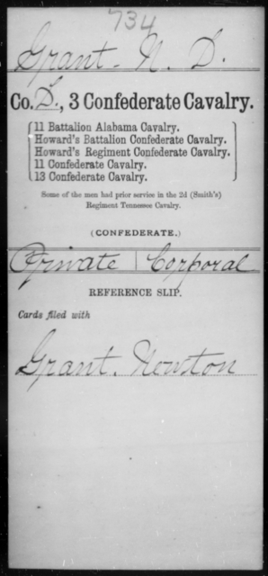 Grant, N D - Age [Blank], Year: [Blank] - Third Confederate Cavalry, D-H - Raised Directly by the Confederate Government