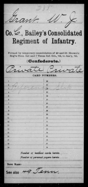 Grant, W J - Age [Blank], Year: [Blank] - Bailey's Consolidated Regiment of Infantry AND Bradford's Corps, Scouts and Guards - Raised Directly by the Confederate Government