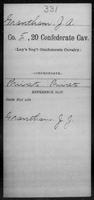 Grantham, J A - Age [Blank], Year: [Blank] - Twentieth Confederate Cavalry (Lay's Regiment), A-M - Raised Directly by the Confederate Government