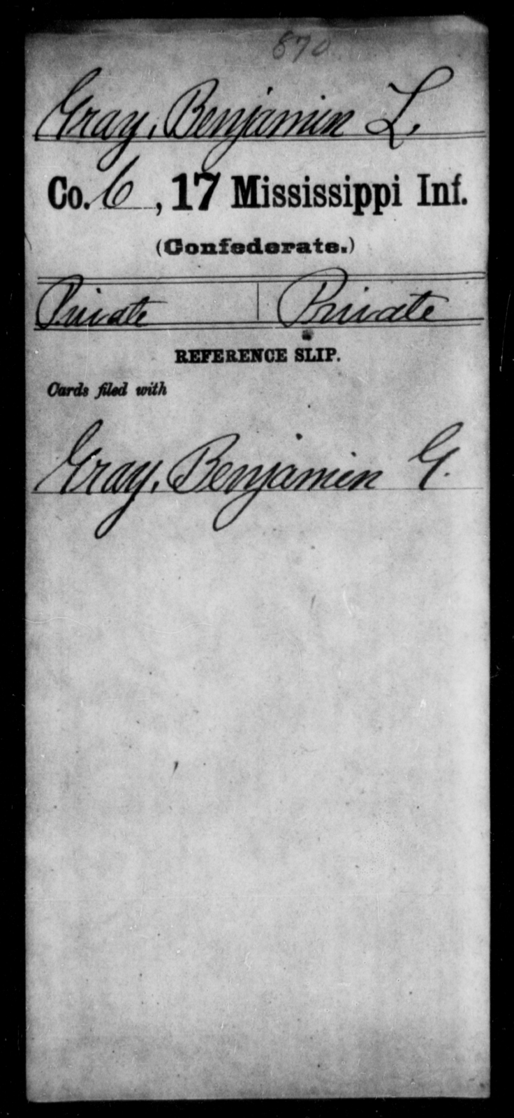 Gray, Benjamin L - Age: [Blank], Year: [BLANK] - Mississippi Seventeenth Infantry, G-Ha