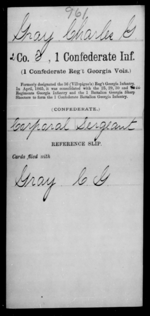 Gray, Charles G - Age [Blank], Year: [Blank] - First Confederate Infantry, F-Ha - Raised Directly by the Confederate Government