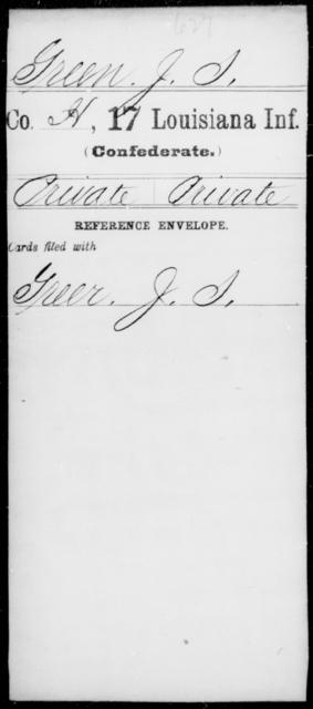 Green, J S - Age [Blank], Year: [Blank] - Seventeenth Infantry, G - Je - Louisiana