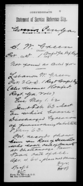 Green, S W - Age 31, Year: [Blank] - First Confederate Infantry, F-Ha - Raised Directly by the Confederate Government