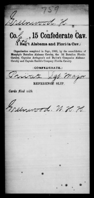 Greenwood, H - Age [Blank], Year: [Blank] - Fifteenth Confederate Cavalry, D-Ha - Raised Directly by the Confederate Government