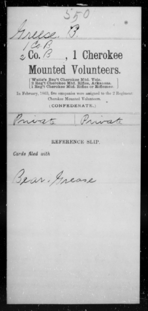 Greese, B - Age [Blank], Year: [Blank] - First Cherokee Mounted Volunteers, A-K - Raised Directly by the Confederate Government