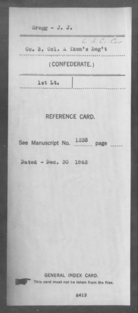 Gregg, J J - Age: [Blank], Year: [BLANK] - South Carolina Sixth Cavalry G-H