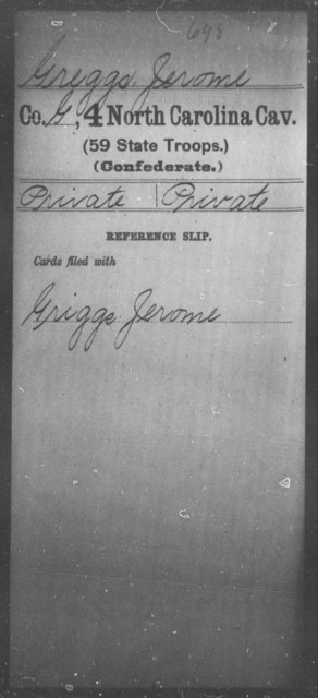 Greggs, Jerome - Fourth Cavalry (59th State Troops)