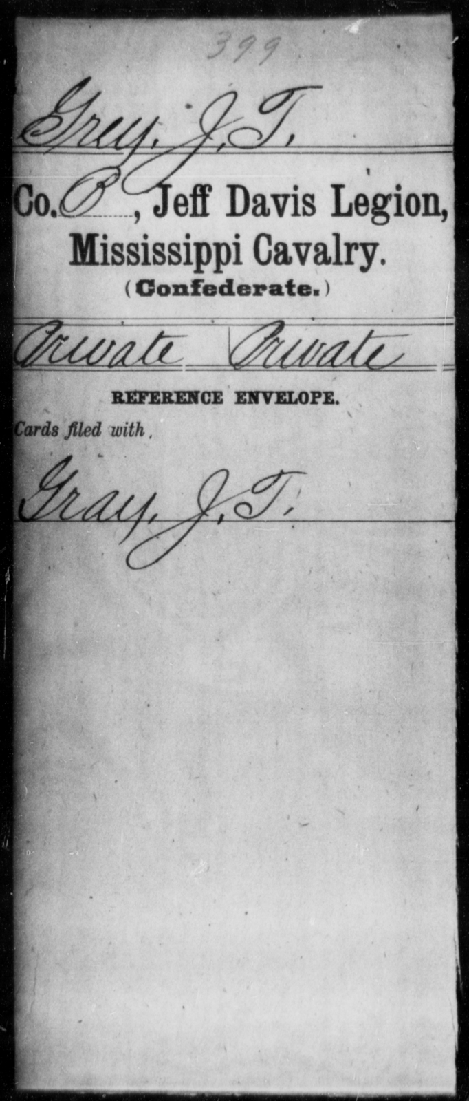 Grey, J T - Age: [Blank], Year: [BLANK] - Mississippi Jeff Davis Legion, Cavalry, G-K